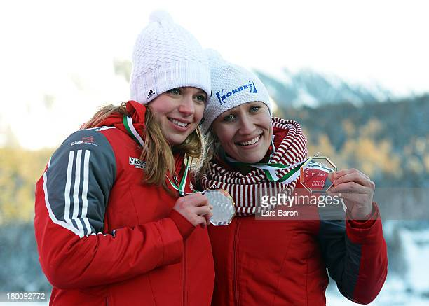Kaillie Humphries and Chelsea Valois of Canada celebrates with the medals after the Women's Bobsleigh final heat of the IBSF Bob & Skeleton World...