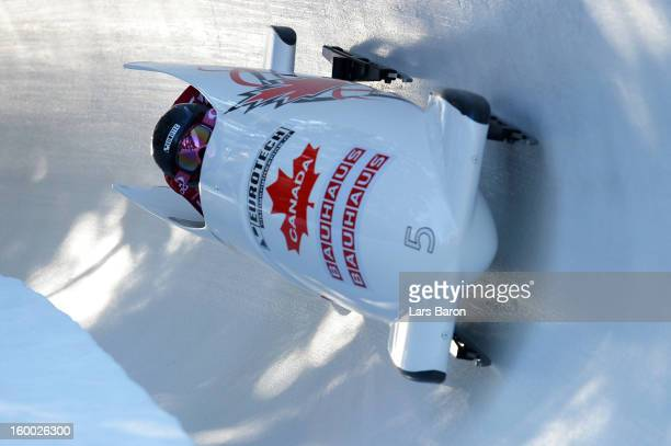 Kaillie Humphries and Chelsea Valois of Canada compete during the Women's Bobsleigh heat 1 of the IBSF Bob & Skeleton World Championship at Olympia...