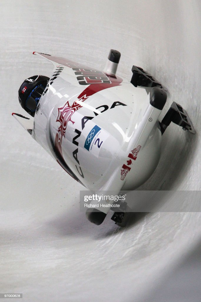 Kaillie Humphries and Heather Moyse of Canada compete in Canada 1 during the Women's Bobsleigh Heat 1 on day 12 of the 2010 Vancouver Winter Olympics at the Whistler Sliding Centre on February 23, 2010 in Whistler, Canada.