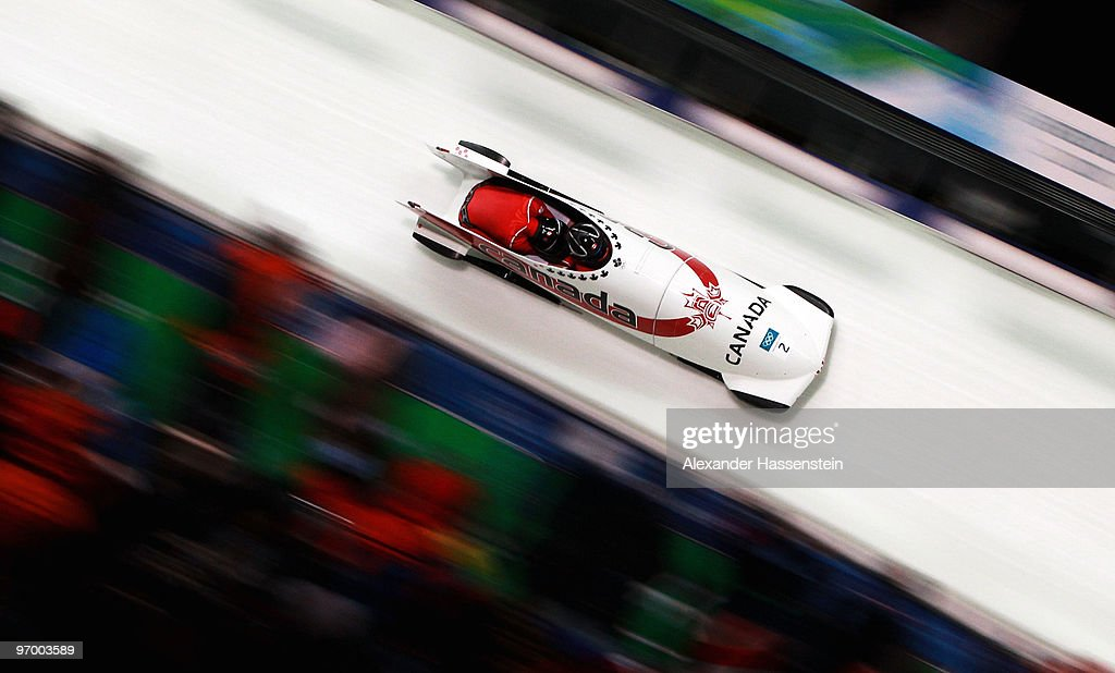 Kaillie Humphries and Heather Moyse of Canada compete in Canada 1 during the Women's Bobsleigh race on day 12 of the 2010 Vancouver Winter Olympics at the Whistler Sliding Centre on February 23, 2010 in Whistler, Canada.