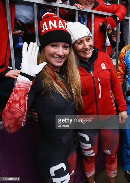 Kaillie Humphries and Heather Moyse of Canada team 1 celebrate after winning the gold medal during the Women's Bobsleigh on Day 12 of the Sochi 2014...