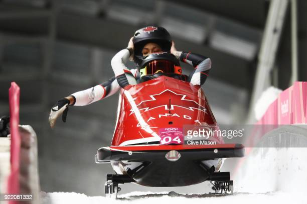 Kaillie Humphries and Phylicia George of Canada celebrate in the finish area during the Women's Bobsleigh heats on day twelve of the PyeongChang 2018...