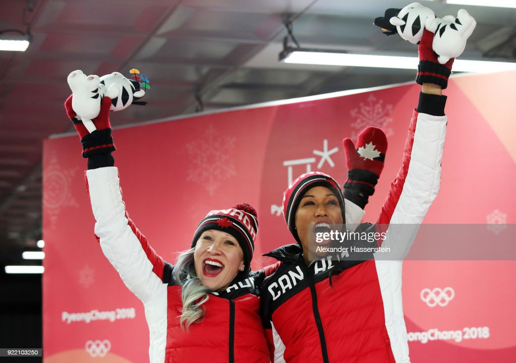 Kaillie Humphries and Phylicia George of Canada celebrate winning bronze during the Women's Bobsleigh heats on day twelve of the PyeongChang 2018 Winter Olympic Games at the Olympic Sliding Centre on February 21, 2018 in Pyeongchang-gun, South Korea.