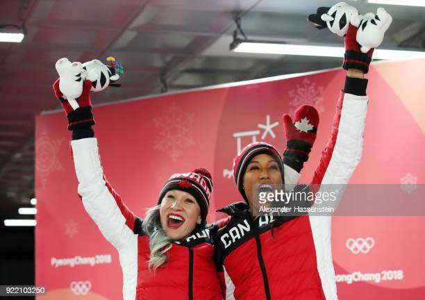 Kaillie Humphries and Phylicia George of Canada celebrate winning bronze during the Women's Bobsleigh heats on day twelve of the PyeongChang 2018...