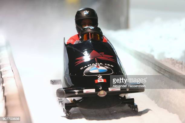 Kaillie Humphries and Phylicia George of Canada compete at Deutsche Post Eisarena Koenigssee during the BMW IBSF World Cup Women`s Bobsleigh World...