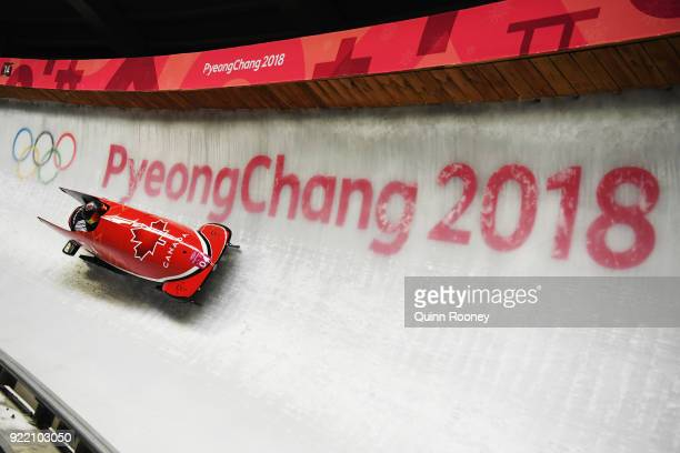 Kaillie Humphries and Phylicia George of Canada slide during the Women's Bobsleigh heats on day twelve of the PyeongChang 2018 Winter Olympic Games...