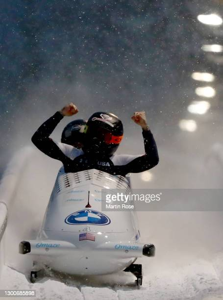 Kaillie Humphries of the United States celebrates after winning the gold medal during the IBSF World Championships 2021 Altenberg 2-Woman Bobsleigh...