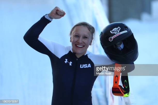 Kaillie Humphries of the United States celebrates winning the Women's Monobob at the IBSF World Championships 2021 Altenberg competition at Eiskanal...