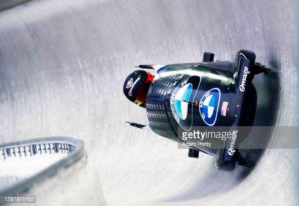Kaillie Humphries of the USA sets a new track record and goes fastest in her first run during the Women's Monobob World Series Koenigssee at LOTTO...
