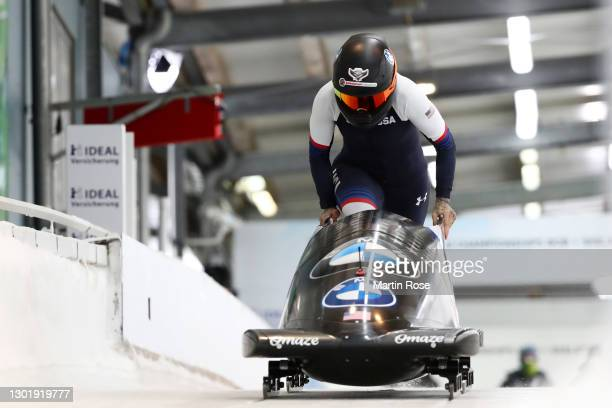 Kaillie Humphries of USA competes in her first run during the IBSF World Championships 2021 Altenberg Women's Monobob competition at the at Eiskanal...
