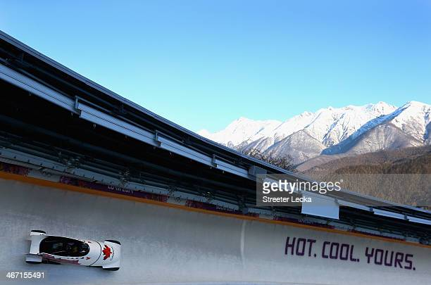Kaillie Humphries pilots the women's Canada 1 bobsled during practice ahead of the Sochi 2014 Winter Olympics at the Sanki Sliding Center on February...