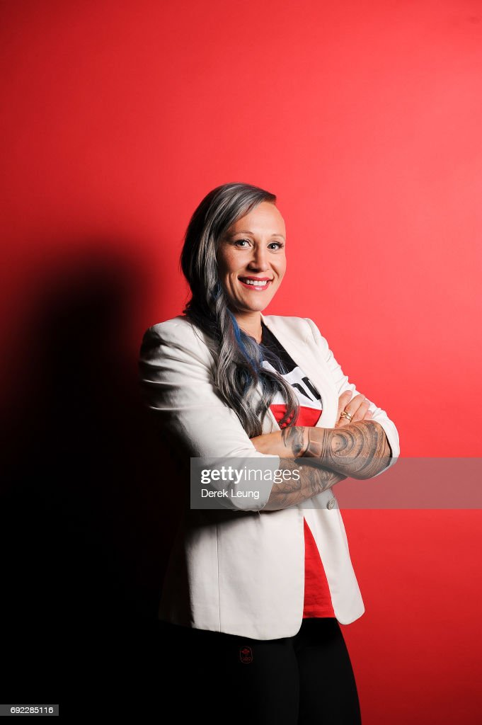 Kaillie Humphries poses for a portrait during the Canadian Olympic Committee Portrait Shoot on June 4, 2017 in Calgary, Alberta, Canada.