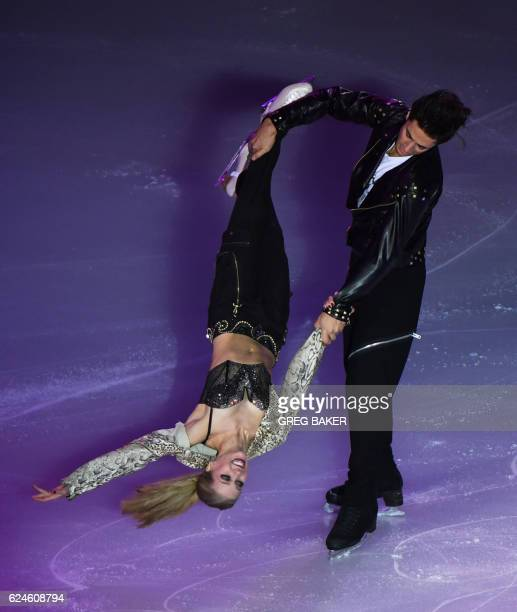 TOPSHOT Kailtlin Weaver and Andrew Poje of Canada perform during the gala exhibition at the Cup of China ISU Grand Prix of Figure Skating in Beijing...