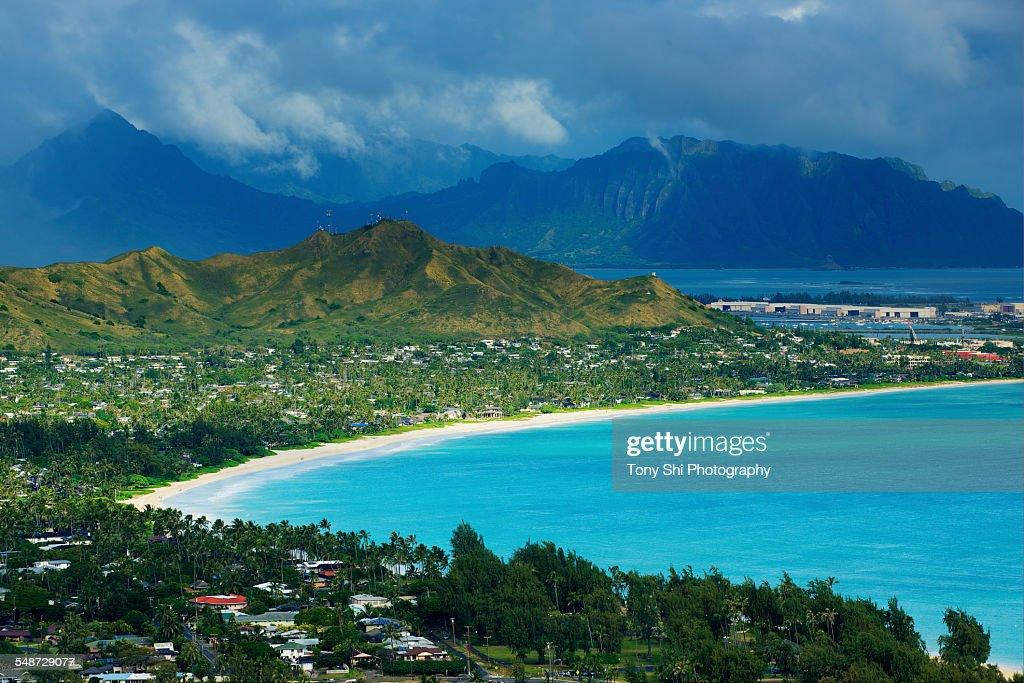 Kailua Beach and Kailua Bay, Hawaii : Stock Photo