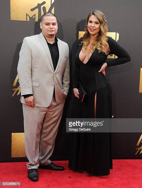 Kailyn Lowry and Jo Rivera arrive at the 2016 MTV Movie Awards at Warner Bros Studios on April 9 2016 in Burbank California