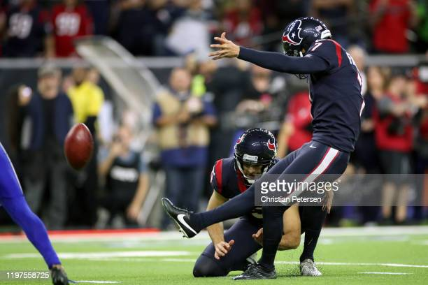 Ka'imi Fairbairn of the Houston Texans kicks the gamewinning field goal in overtime to give his teams the 2219 win against the Buffalo Bills in the...