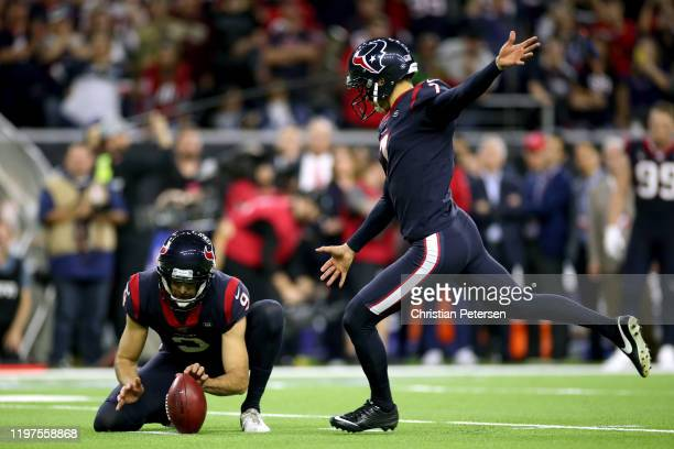 Ka'imi Fairbairn of the Houston Texans kicks the gamewinning field goal in overtime to give his team the 2219 win against the Buffalo Bills in the...