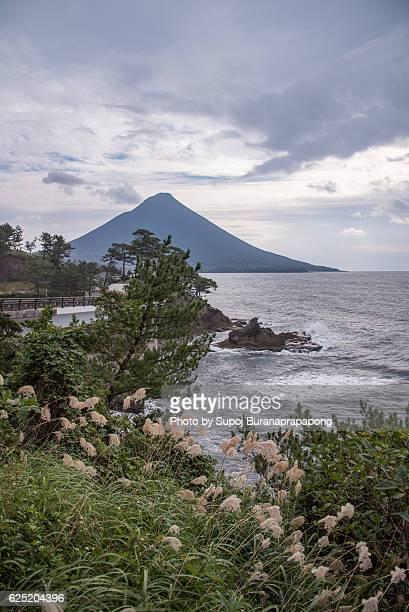 kaimondake volcano view form the road way to sakurajima