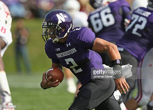 Kain Colter of the Northwestern Wildcats runs for his second touchdown of the game against the Indiana Hoosiers at Ryan Field on September 29, 2012...