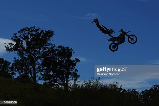 Kain Saul of Australia in action during the final day of the Red Bull XRAY freestyle motocross competition at Razorback Ridge Picton on on September...