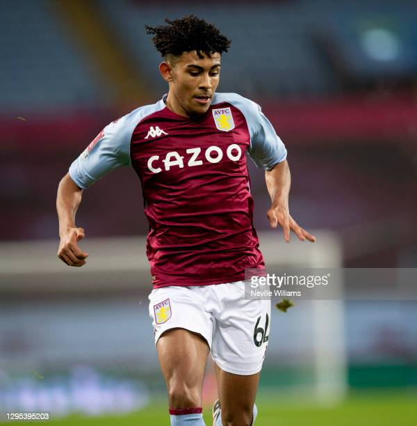 Kaine Kesler of Aston Villa in action during the FA Cup Third Round between Aston Villa and Liverpool at Villa Park on January 08, 2021 in...