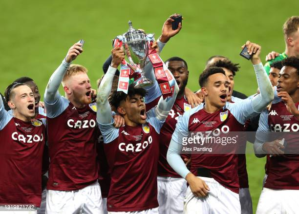 Kaine Kesler-Hayden of Aston Villa celebrates victory during the FA Youth Cup Final between Aston Villa U18 and Liverpool U18 at Villa Park on May...