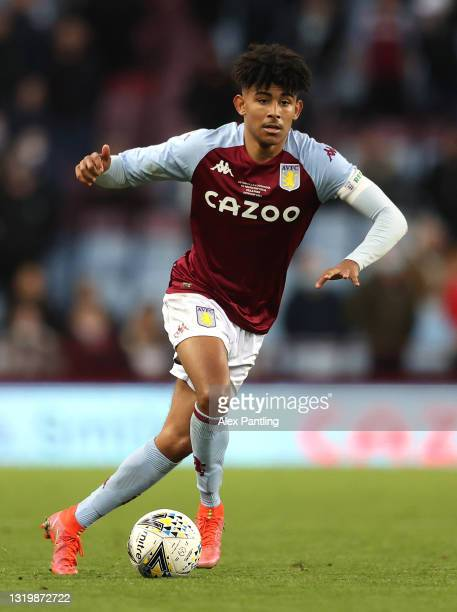 Kaine Kesler-Hayden of Aston Villa during the FA Youth Cup Final between Aston Villa U18 and Liverpool U18 at Villa Park on May 24, 2021 in...