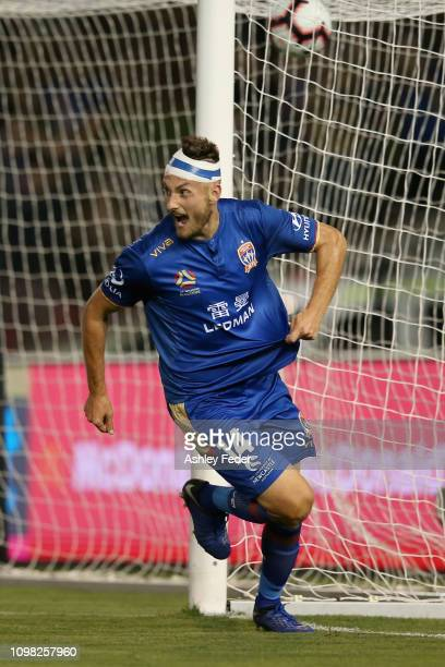 Kaine Sheppard of the Newcastle Jets celebrates his goal during the round 15 ALeague match between the Newcastle Jets and the Central Coast Mariners...