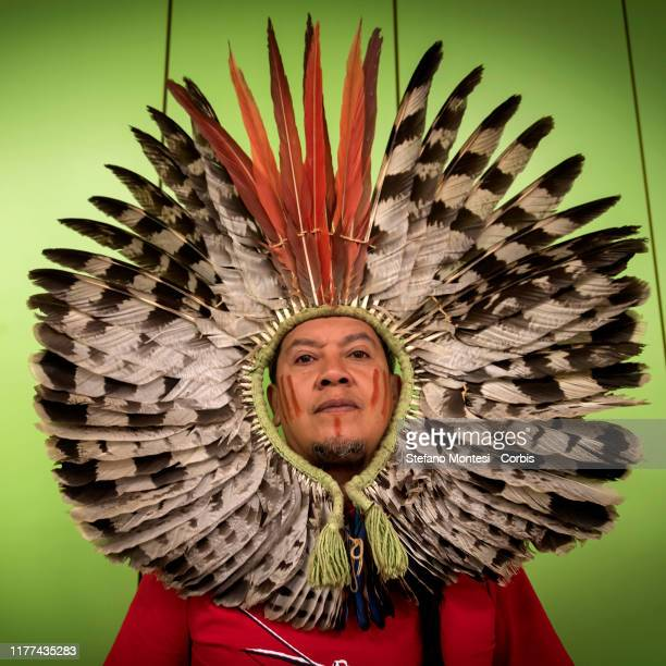 Kaingang ethnic group leader Kreta Kaingang attends a press conference for ' Indigenous Blood: Not a Single Drop More' at Greenpeace Italy on October...