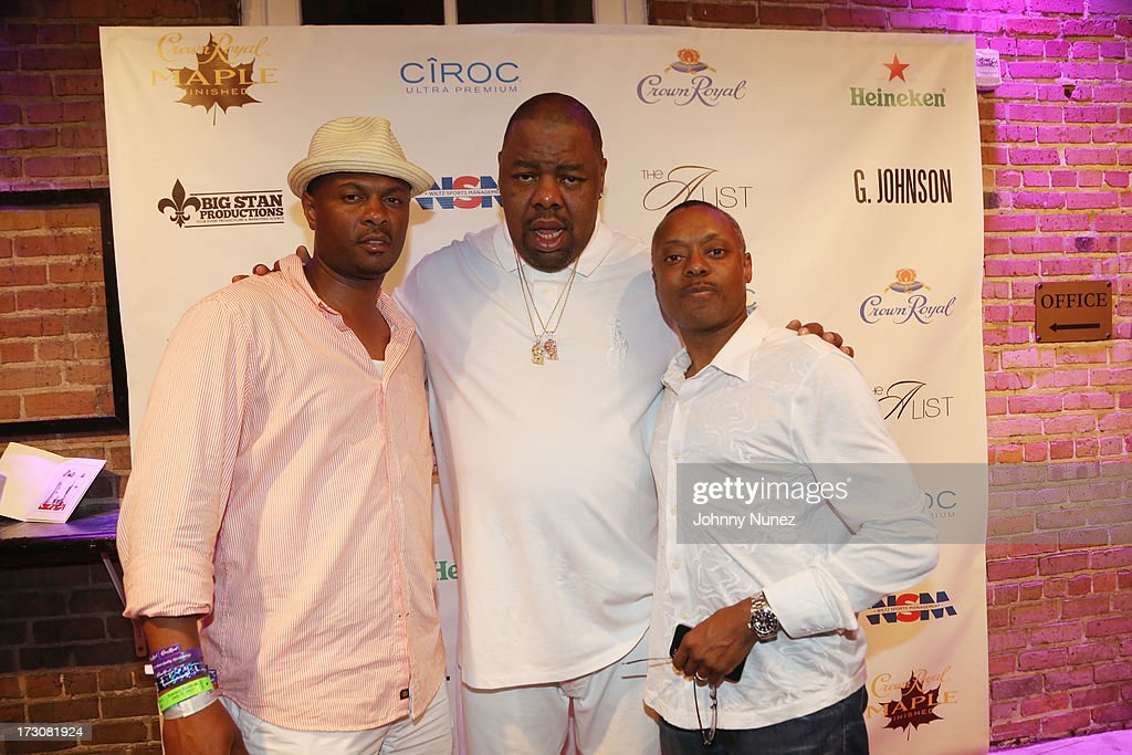 (L-R0 Kainon Jasper, Biz Markie and David Aikens attend The Luxury All White Everything party at Metropolitan Nightclub on July 5, 2013 in New Orleans, Louisiana.