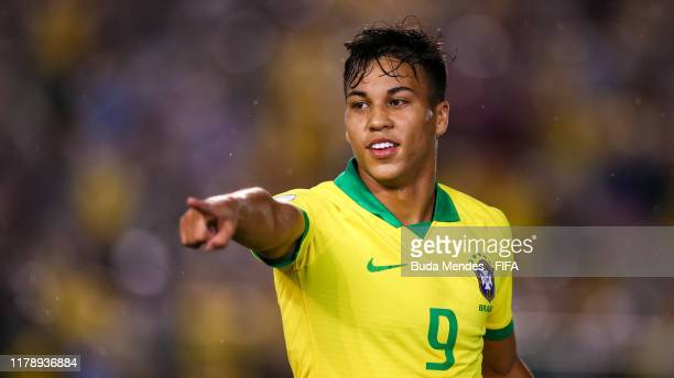 Kaio Jorge of Brazil celebrates after scoring his team's first goal during the FIFA U17 Men's World Cup Brazil 2019 group A match between Brazil and...