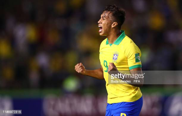 Kaio Jorge of Brazil celebrates the first goal for his team during the FIFA U17 World Cup Brazil 2019 round of 16 match between Brazil and Chile at...