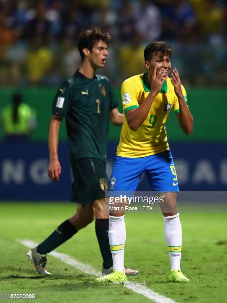 Kaio Jorge of Brazil reacts during the FIFA U-17 World Cup Quarter Final match between Italy and Brazil at the Estádio Olímpico Goiania on November...