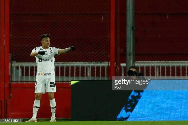 Kaio Jorge of Santos celebrates after scoring the first goal of his team during a round of sixteen second leg match between Independiente and Santos...