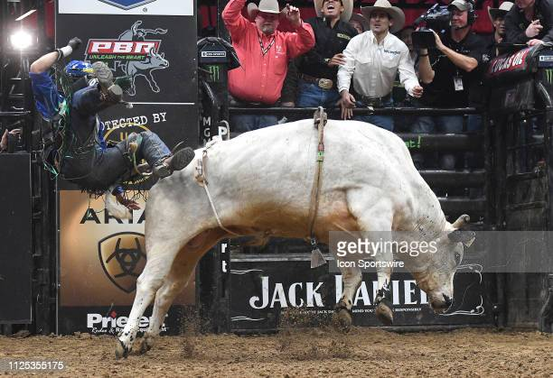 Kaique Pacheco gets thrown from the bull Old Fort Days during the final round of the Professional Bullriders Mason Lowe Memorial on February 16 at...