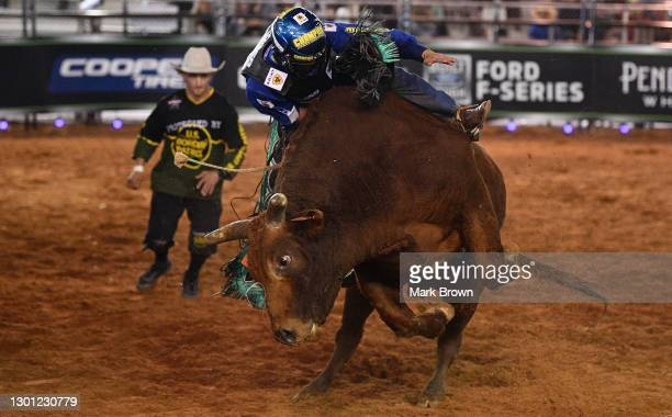Kaique Pacheco rides Homegrown during the PBR Unleash The Beast bull riding event at Okeechobee Agri-Civic Center on January 31, 2021 in Okeechobee,...