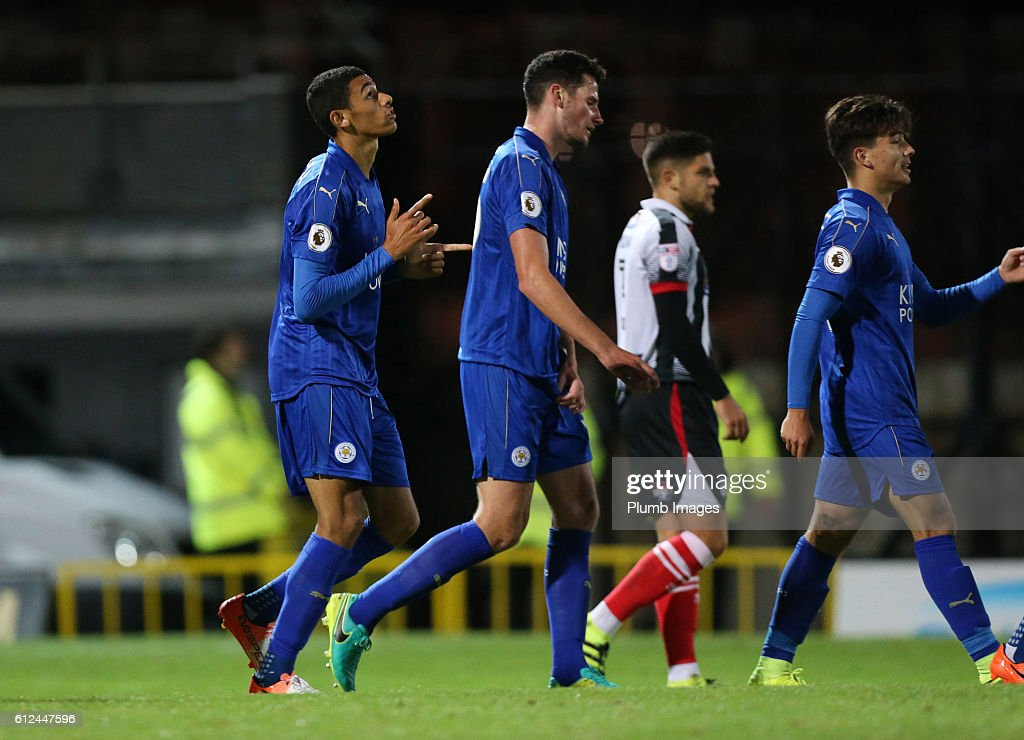 Kairo Mitchell of Leicester City celebrates after scoring to make it 0-1 during the checkatrade Trophy match between Grimsby Town and Leicester City at Blundell Park on October 04, 2016 in Grimsby, United Kingdom.