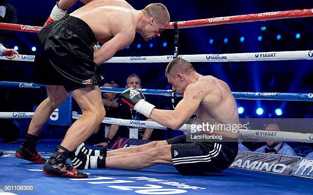 KaiRobin Havnaa of Norway wins against Lukasz Zygmunt of Poland in the Cruiserweight match during the Sauerland Promotion Boxing Ondt Blod Match at...