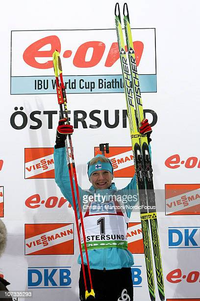 Kaisa Maekaeraeinen of Finland celebrates her victory in the women's pursuit during the IBU Biathlon World Cup on December 5 2010 in Ostersund Sweden