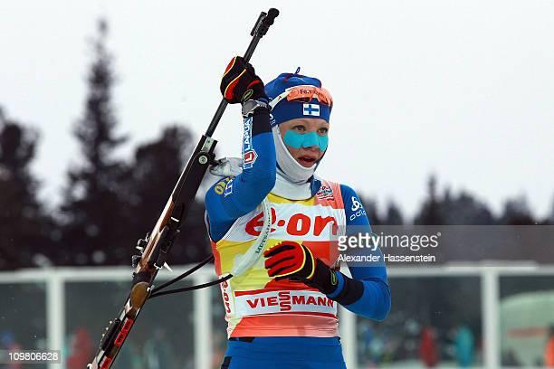 Kaisa Maekaeraeinen of Finland competes in the women's 10km pursuit during the IBU Biathlon World Championships at A.V. Philipenko winter sports...