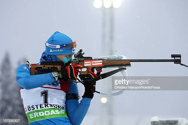 Kaisa Maekaeraeinen of Finland competes in the women's pursuit during the IBU Biathlon World Cup on December 5 2010 in Ostersund Sweden