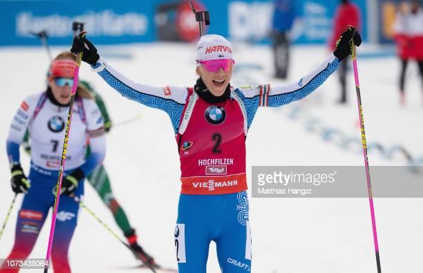 Kaisa Makarainen of Finalnd celebrates winning the IBU Biathlon World Cup Women's 10 km Pursuit on December 15, 2018 in Hochfilzen, Austria.