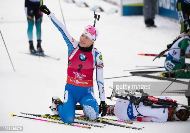 Kaisa Makarainen of Finalnd celebrates winning the IBU Biathlon World Cup Women's 10 km Pursuit on December 15 2018 in Hochfilzen Austria