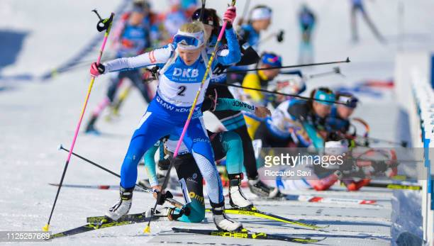 Kaisa Makarainen of Finland at the shooting range during the Women's 10 KM Pursuit Competition of the IBU World Championships Biathlon 2019 on...