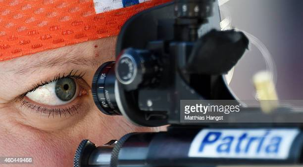 Kaisa Makarainen of Finland at the zeoring for the women's 10 km pursuit event during the IBU Biathlon World Cup on December 14, 2014 in Hochfilzen,...