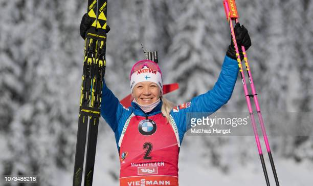 Kaisa Makarainen of Finland celebrates her gold medal on the podium during in the IBU Biathlon World Cup Women's 10 km Pursuit on December 15, 2018...