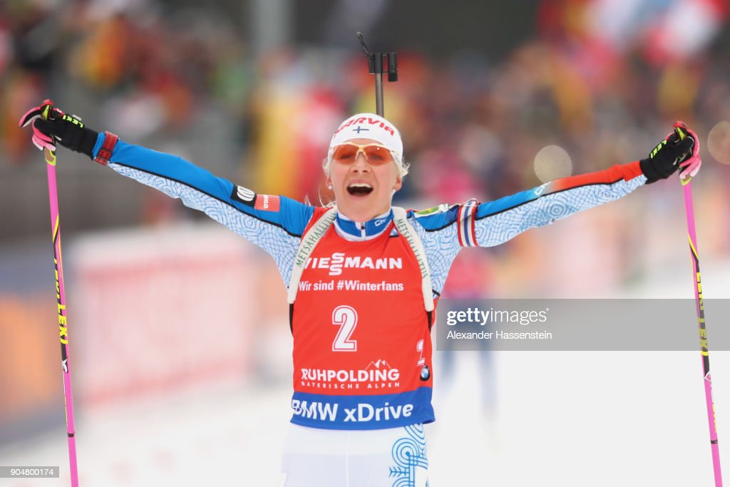 Kaisa Makarainen of Finland celebrates winning the women's 12,5 km mass start competition during the IBU Biathlon World Cup at Chiemgau Arena on January 14, 2018 in Ruhpolding, Germany.