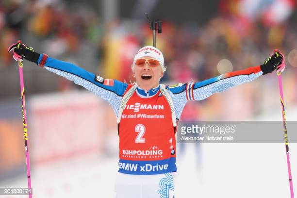 Kaisa Makarainen of Finland celebrates winning the women's 12,5 km mass start competition during the IBU Biathlon World Cup at Chiemgau Arena on...