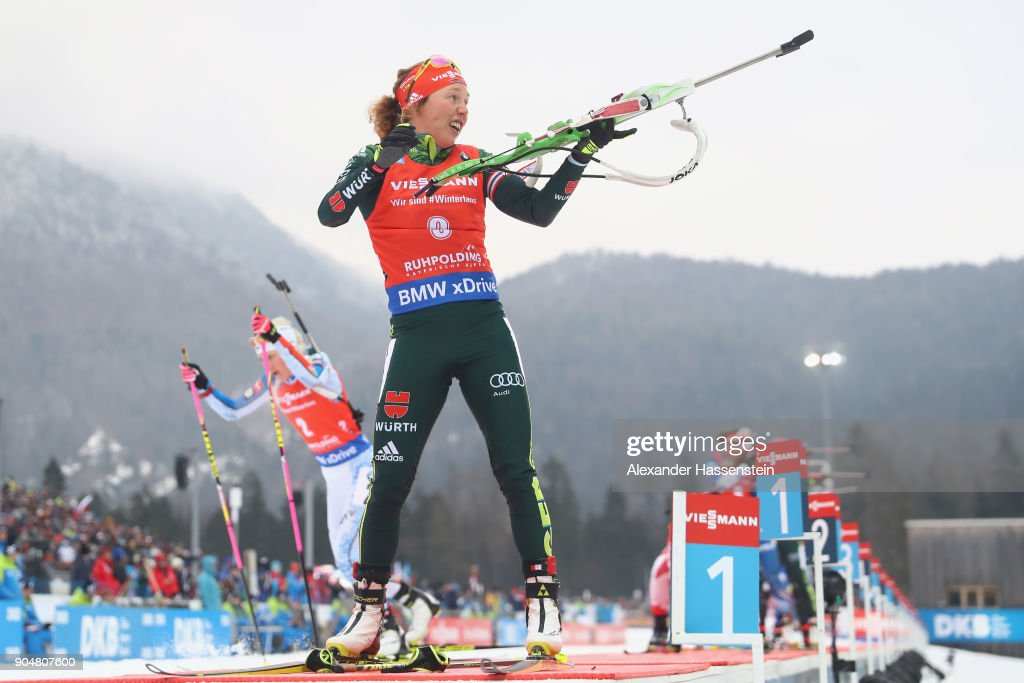 Kaisa Makarainen (L) of Finland comepetes to win against Laura Dahlmeier (R) of Germany during the women's 12,5 km mass start competition during the IBU Biathlon World Cup at Chiemgau Arena on January 14, 2018 in Ruhpolding, Germany.