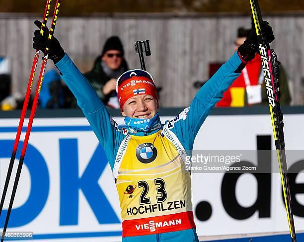 Kaisa Makarainen of Finland competes during the IBU Biathlon World Cup Men's and Women's Sprint on December 12, 2014 in Hochfilzen, Austria.
